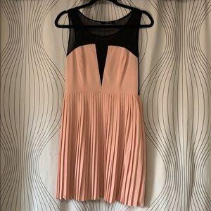 Blush Pleated V Mesh Dress